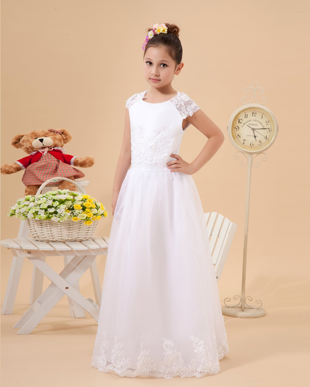 Cute A-Line Jewel Floor Length Satin Organza Flower Girl Dress 2214120016