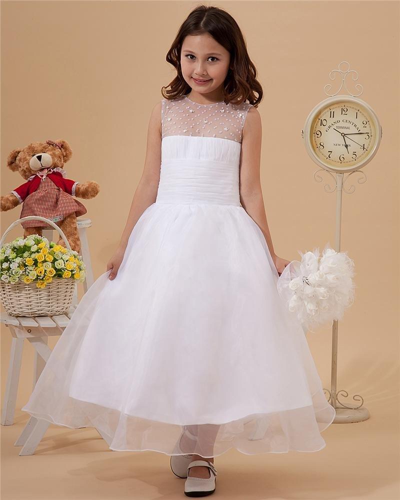 Lovely Yarn Ankle-Length Beading Flower Girl Dresses 2214120036