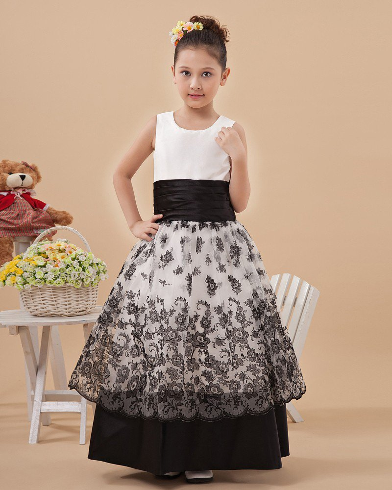 Fashion Satin Embroidery Hem Flower Girl Dresses 2214120029