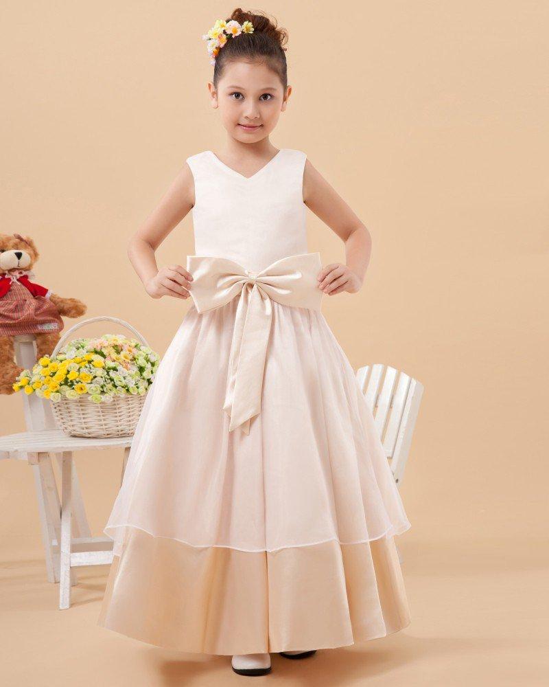 Charmeuse Round Neck Knee Length Flower Girl Dresses 2214120012