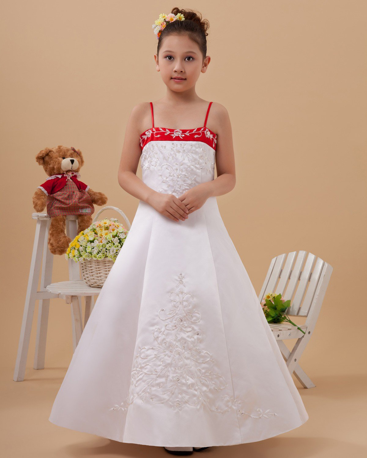Satin Embroider Sewing Bead Flower Girl Dresses 2214120054