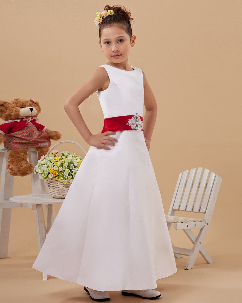 A-Line Jewel Satin Ankle Length Flower Girl Dress 2214120002