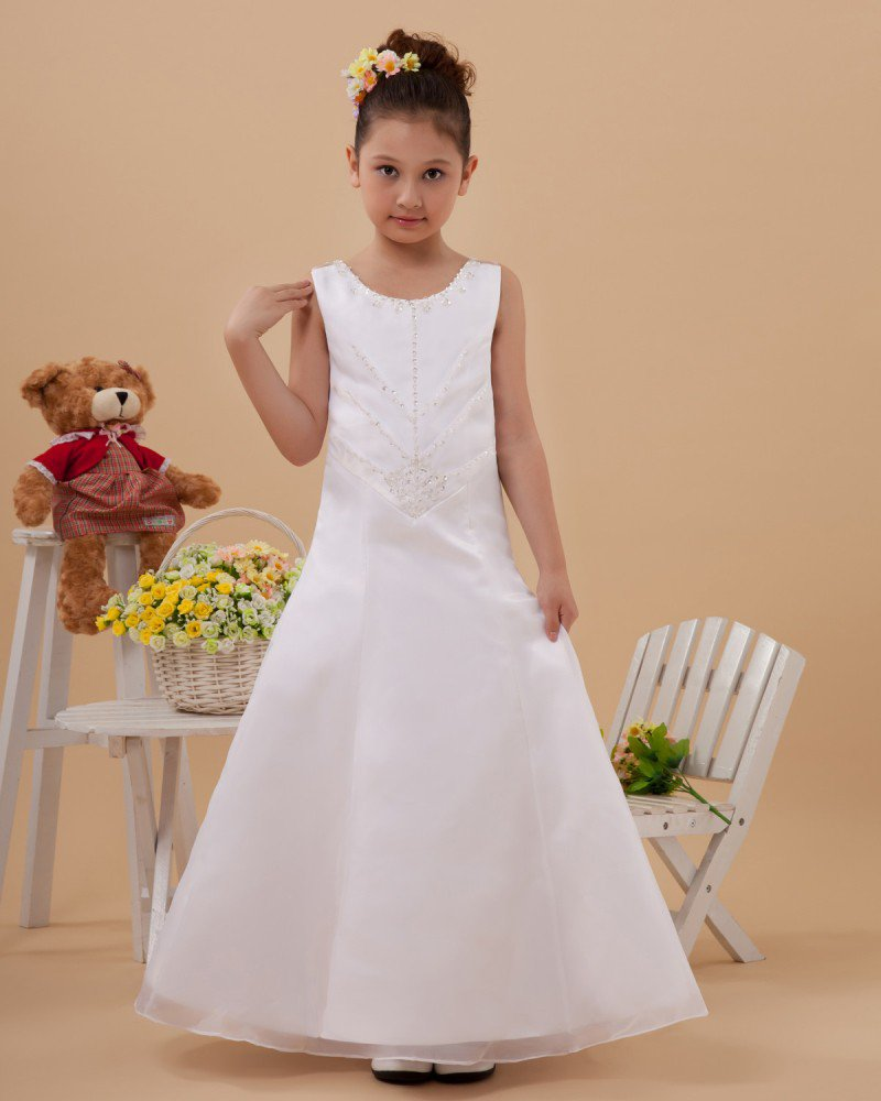 Organza Satin Round Neck Sleeveless Floor Length Flower Girl Dresses 2214120042