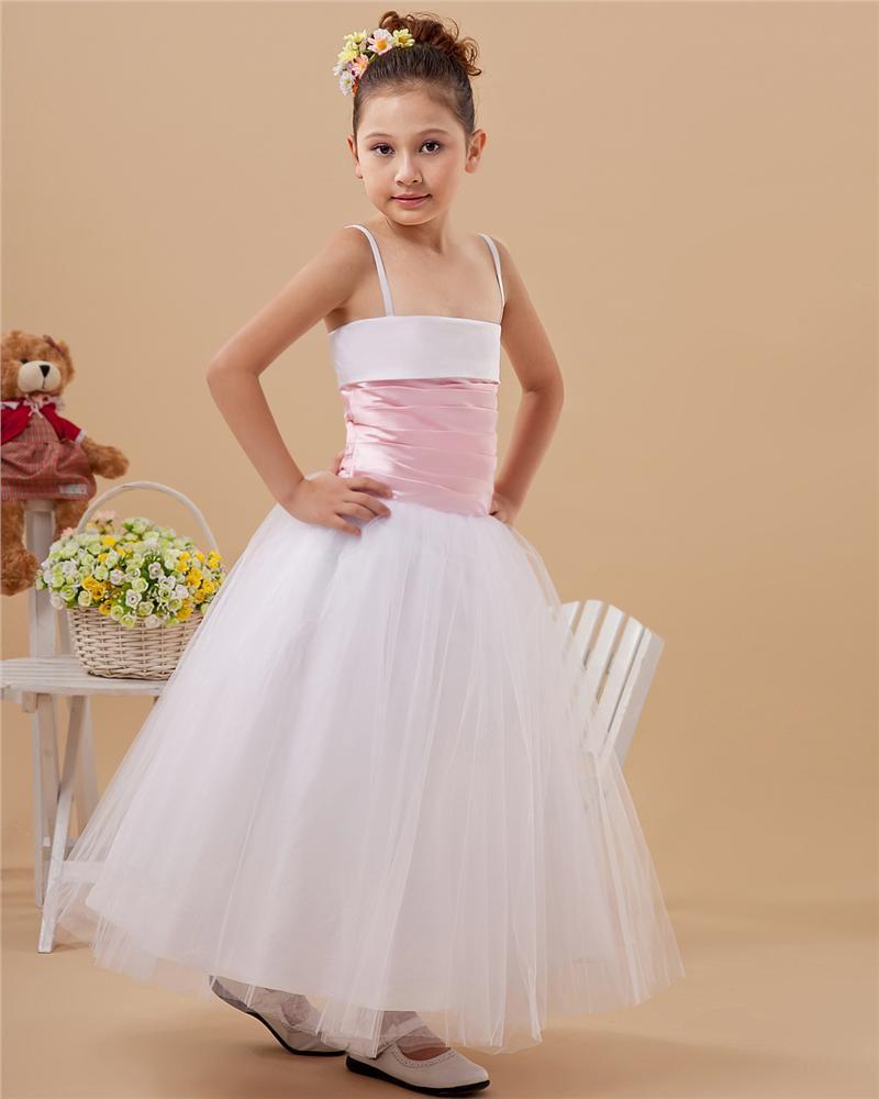 Taffeta Organza Layered Sash Spaghetti Strap Floor Length Flower Girl Dresses 2214120075