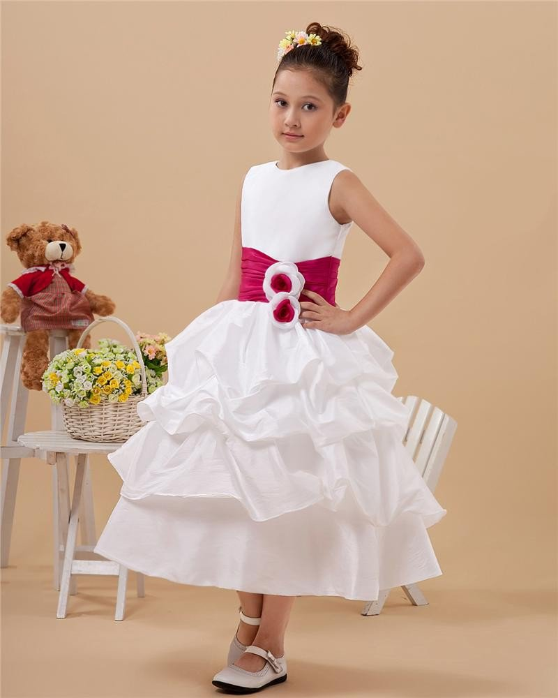 Lovely Satin Handmade Flower Girl Dresses 2214120035