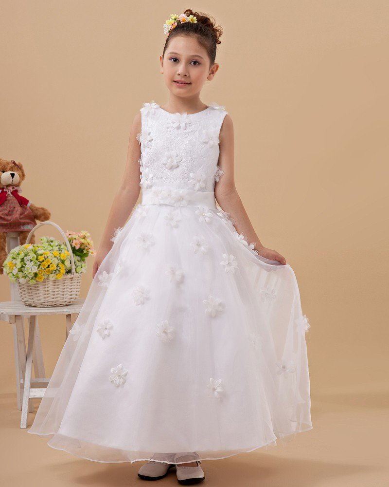 Satin Organza Handmade Flower Embellishment Girl Dresses 2214120060
