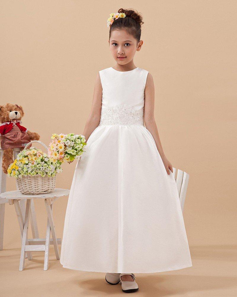 Satin Tulle Ruffle Workmanship Flower Girl Dresses 2214120067