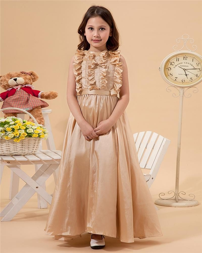 Beautiful Sleeveless Floor Length Taffeta Flower Girl Dress 2214120009