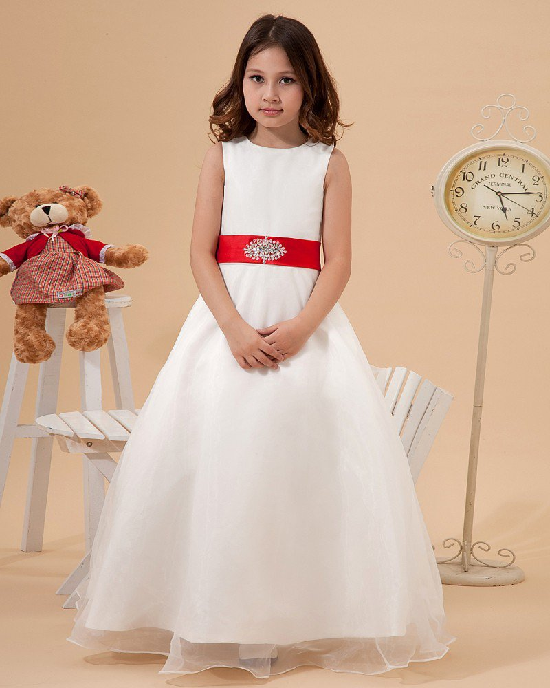 Satin Organza Sewing Beads Handmade Flower Girl Dresses 2214120063