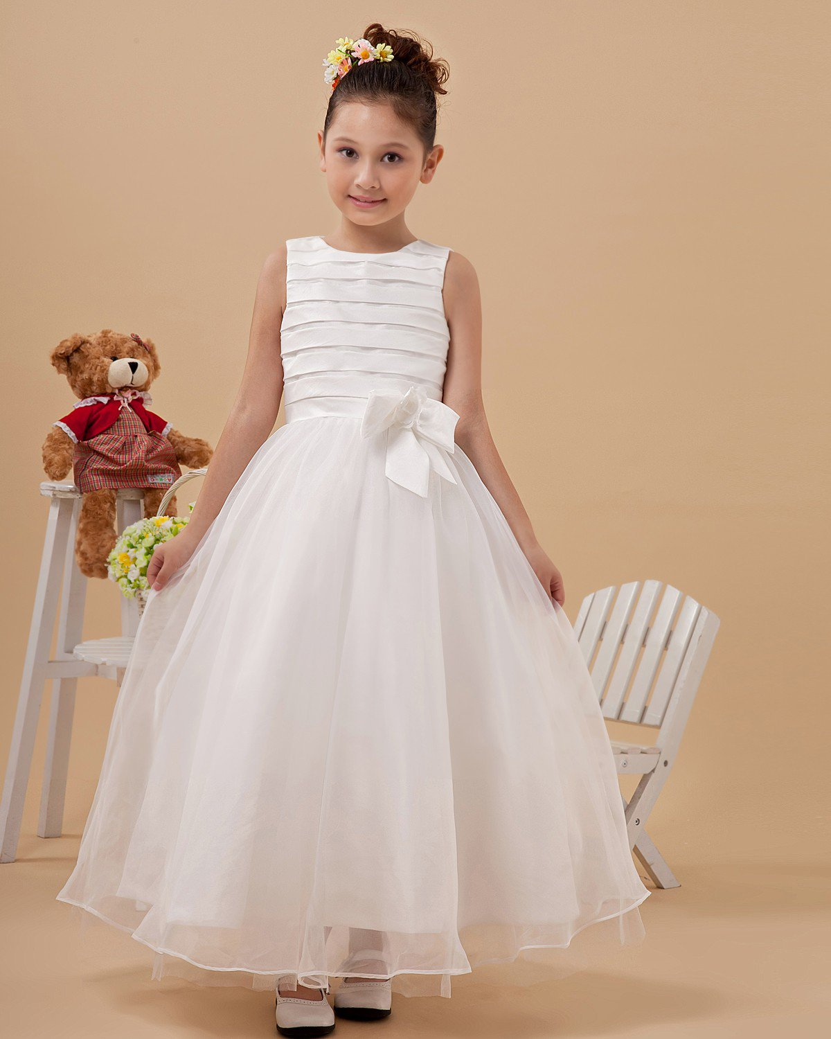 Round Neck Bowknot Yarn Ankle Length Flower Girl Dress 2214120044