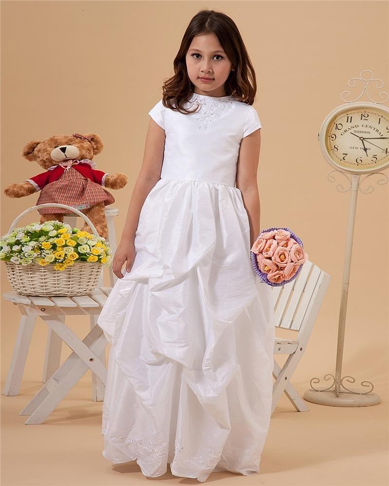 Bateau Taffeta Floor-Length Flower Girl Dresses 2214120004