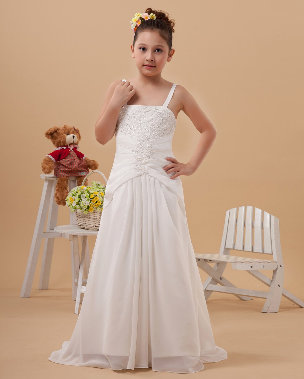 Satin Embroidery Shoulder Straps Floor Length Flower Girl Dress 2214120055