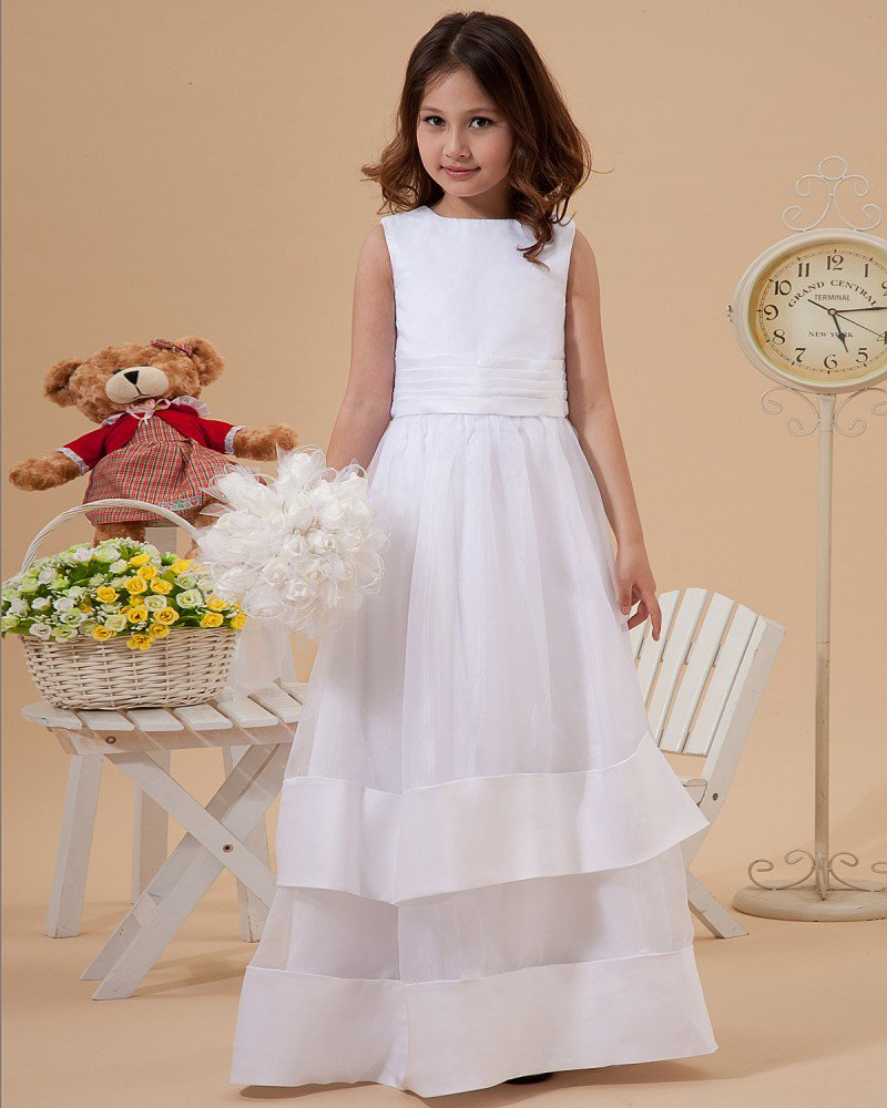 Cute A-Line Jewel Ankle-Length Organza Satin Flower Girl Dress 2214120015
