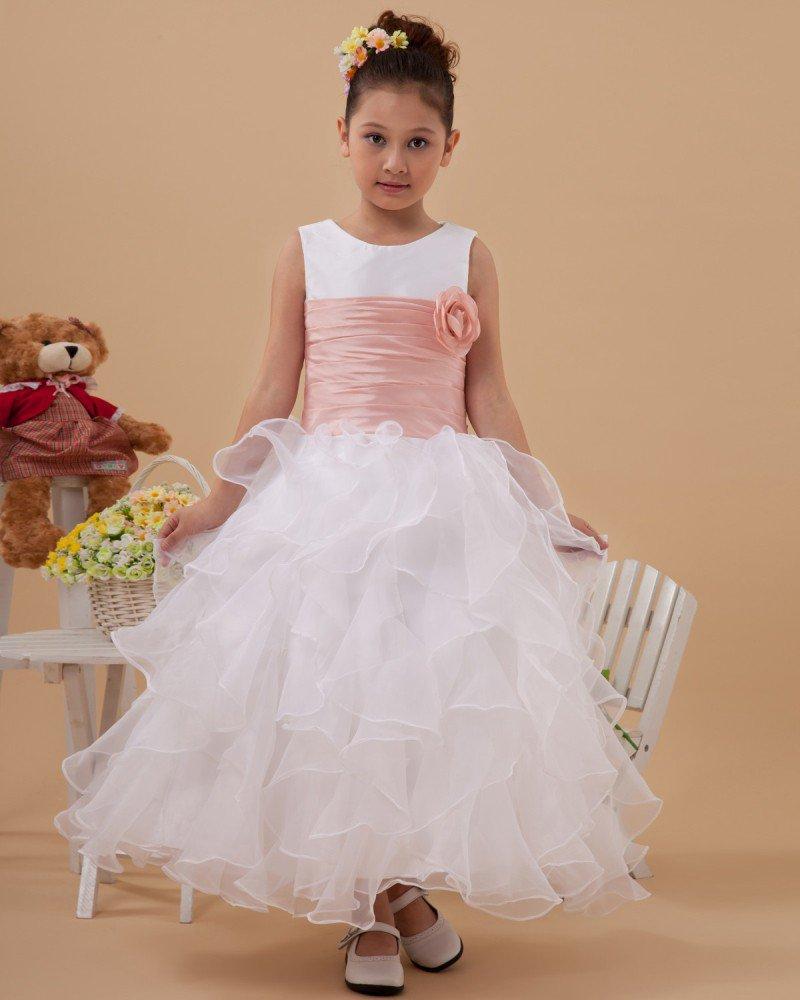 Hand-flower Organza Ruffle Flower Girl Dresses 2214120032