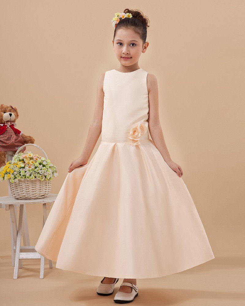 Cute Jewel Sleeveless Floor-Length Satin Flower Girls Dress 2214120020
