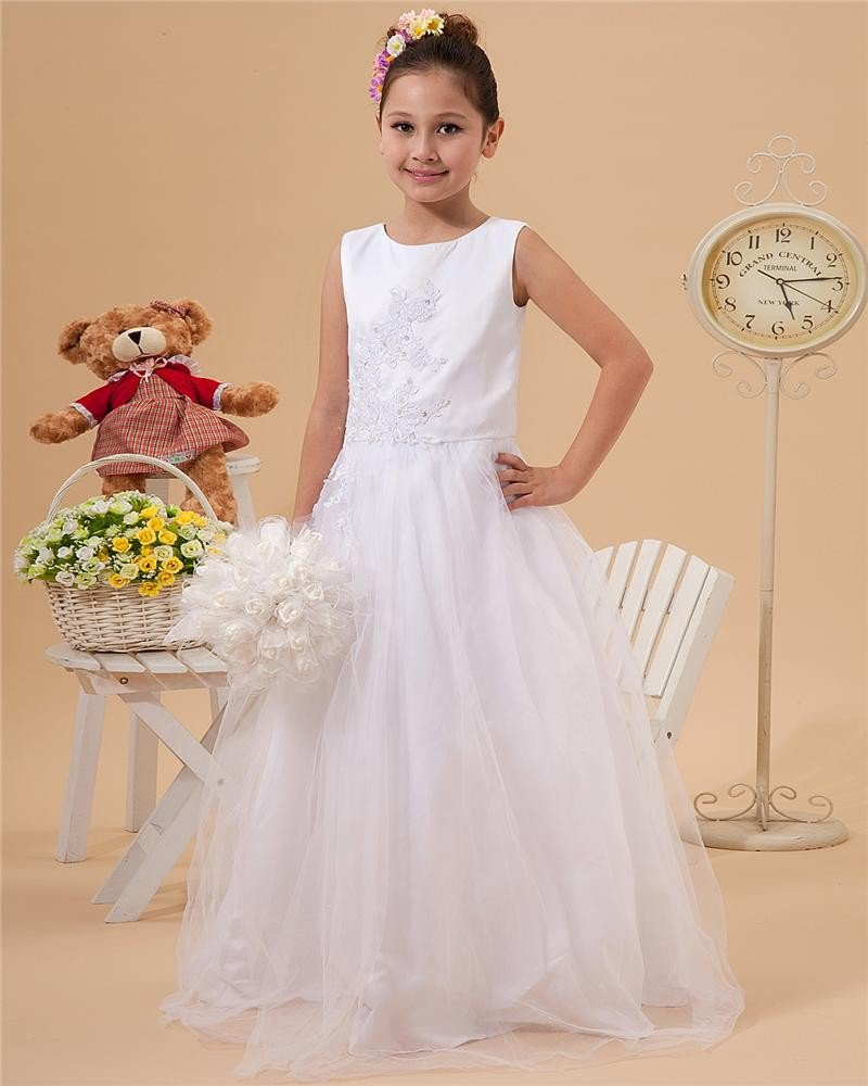 Cute A-Line Floor Length Satin Tulle Flower Girl Dresses 2214120013
