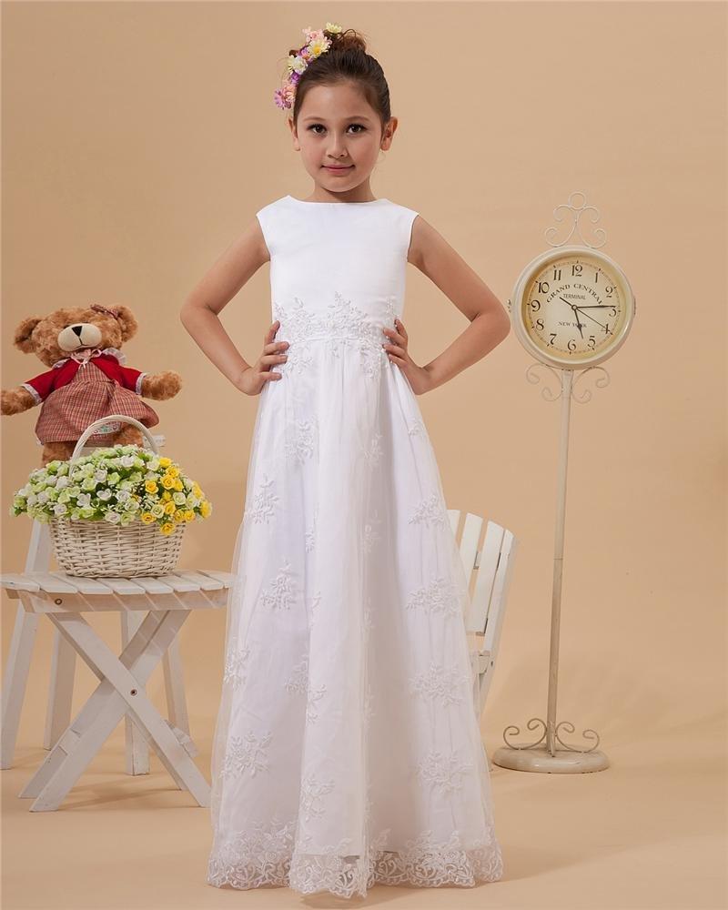 Satin Lace Ruffle Round Neck Floor Length Flower Girl Dresses 2214120047