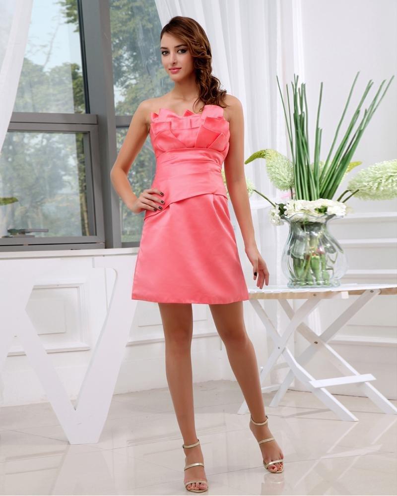 Satin Silk Strapless Ruffle Sleeveless Zipper Mini Graduation Dress