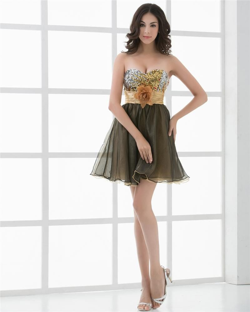 Sweetheart Flower Sash Paillette Mini Length Woman Homecoming Dresses