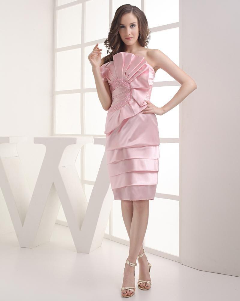 Strapless Beading Ruffle Knee Length Imitation Silk Woman Graduation Dress