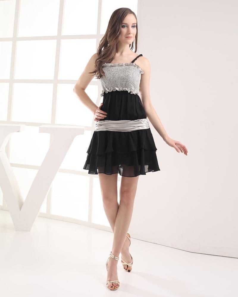 Spaghetti Straps Thigh Length Pleated Imitation Silk Chiffon Women Graduation Dress