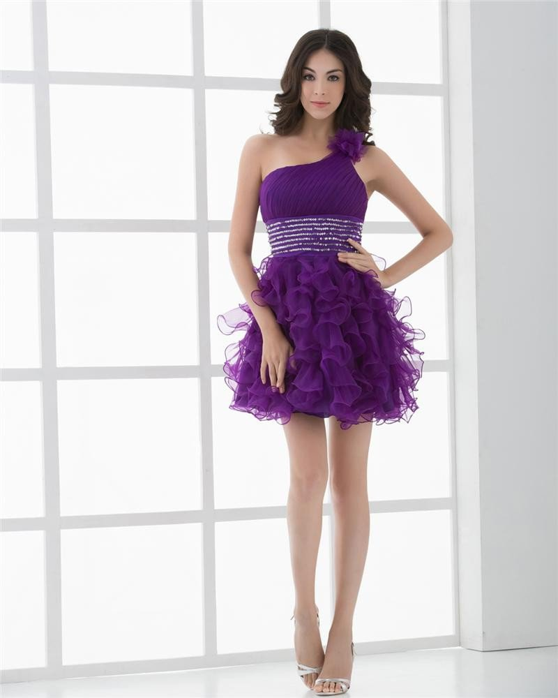 One Shoulder Beading Pleated Mini Length Organza Woman Homecoming Dresses