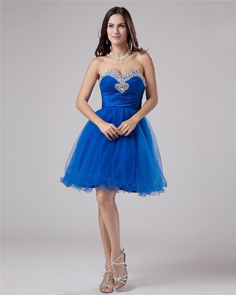 Organza Sweetheart Ruffle Beading Thigh Length Graduation Dress