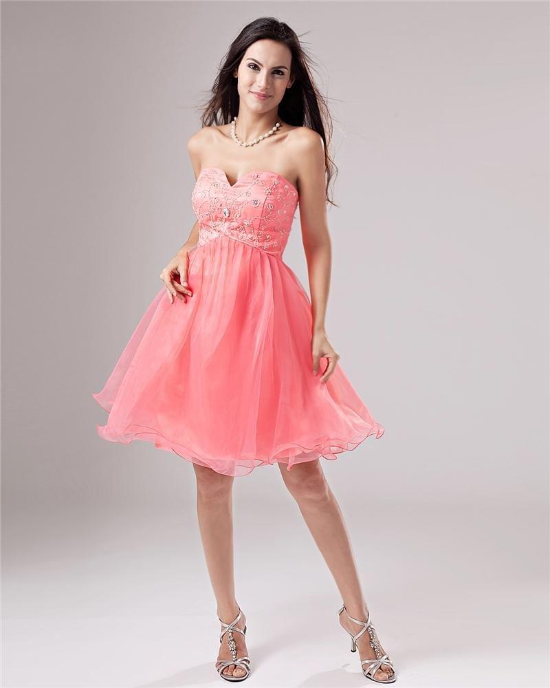 A-Line Strapless Beads Knee-Length Graduation Dress