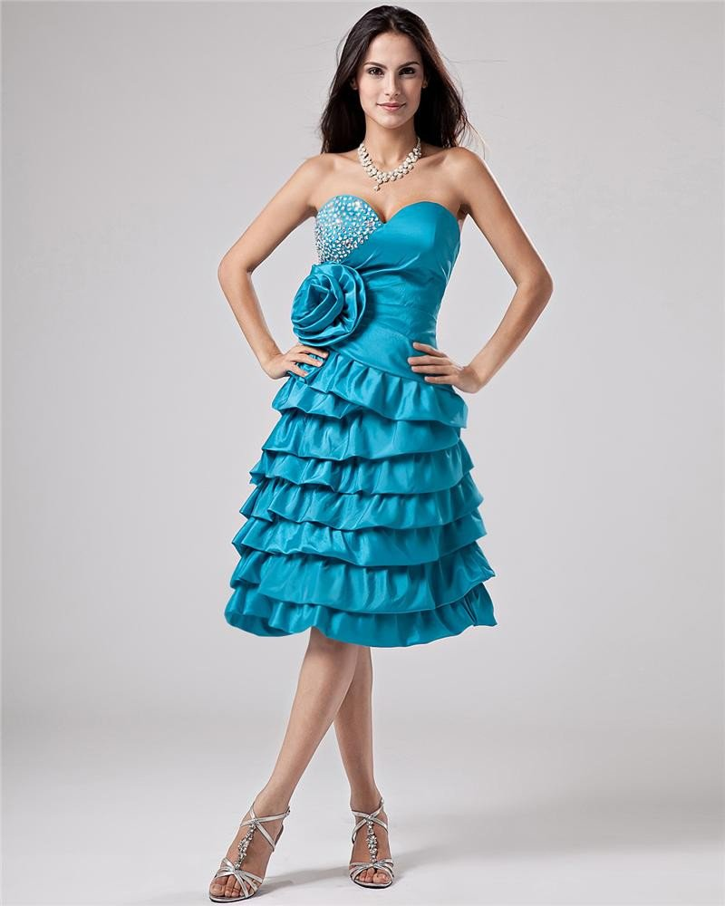 Ruffle Beaded Satin Sweetheart Thigh Length Graduation Dress