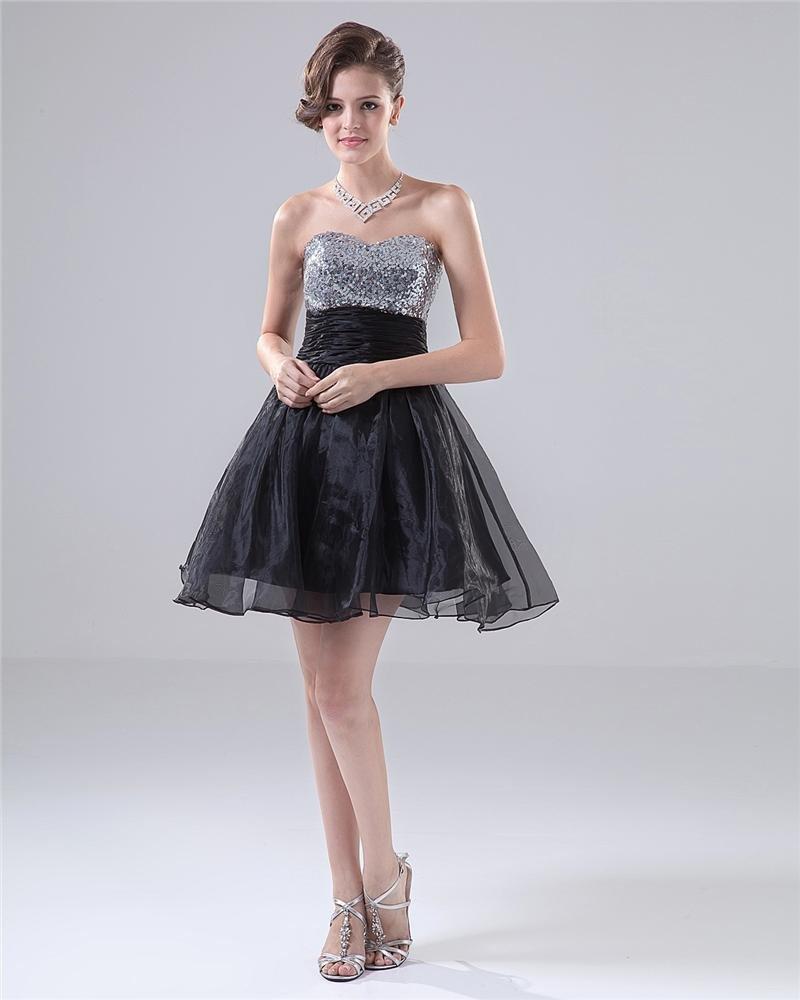 Sweetheart Ruffle Sequins Mini High Woman Graduation Dress