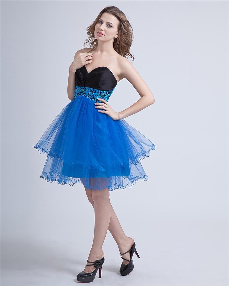 Empire Sweetheart Knee Length Organza Women's Graduation Dresses