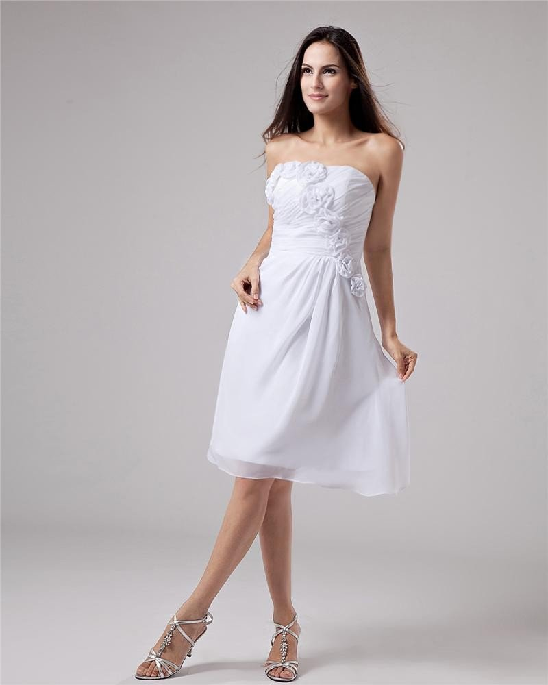 Chiffon Flower Ruffle Strapless Knee Length Graduation Dress