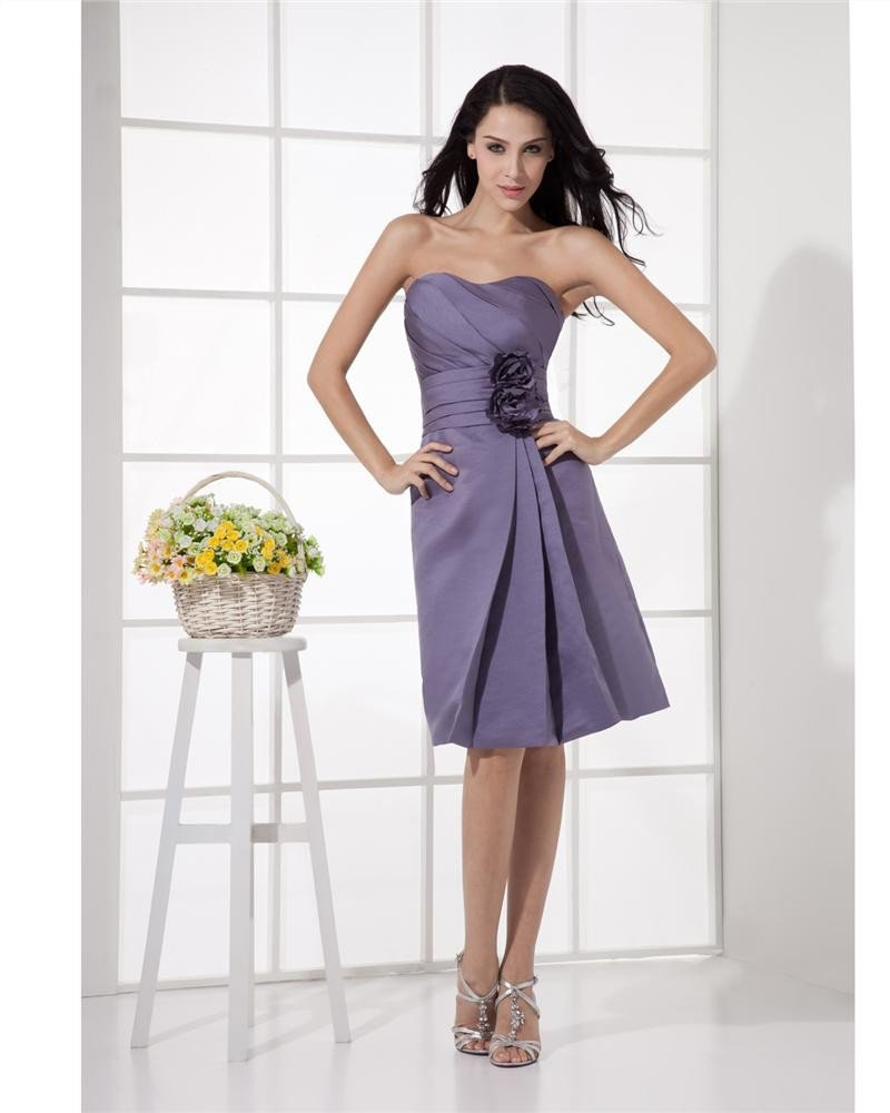 Chiffon Strapless Flower Ruffle Knee Length Graduation Dress