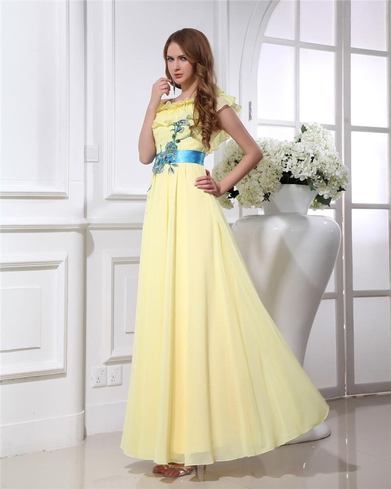 Applique Ruffles Sloping Floor Length Chiffon Graduation Dress