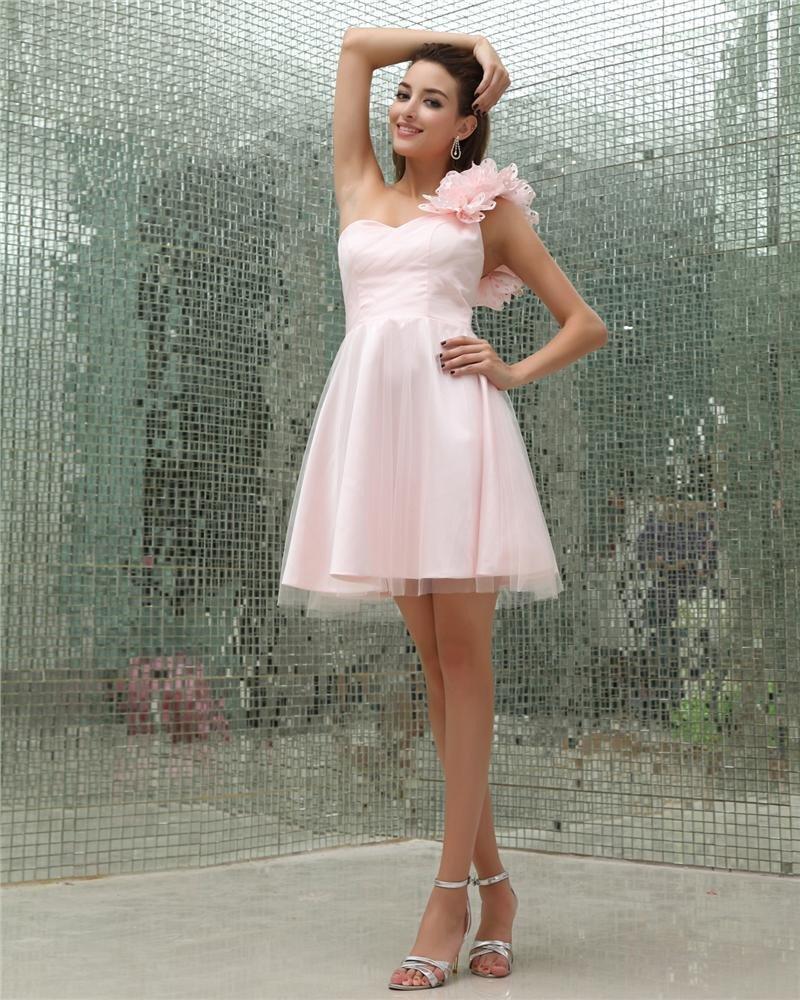 Sweetheart Flower Beading Sleeveless Zipper Knee Length Charmeuse Tulle Woman Homecoming Dresses