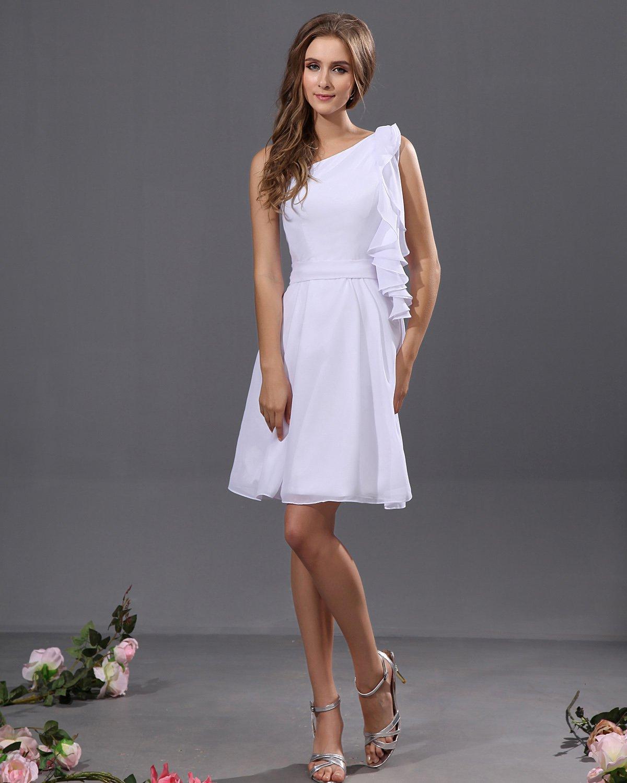 Elegant Chiffon Pleated Ruffle One Shoulder Knee Length Graduation Dresses