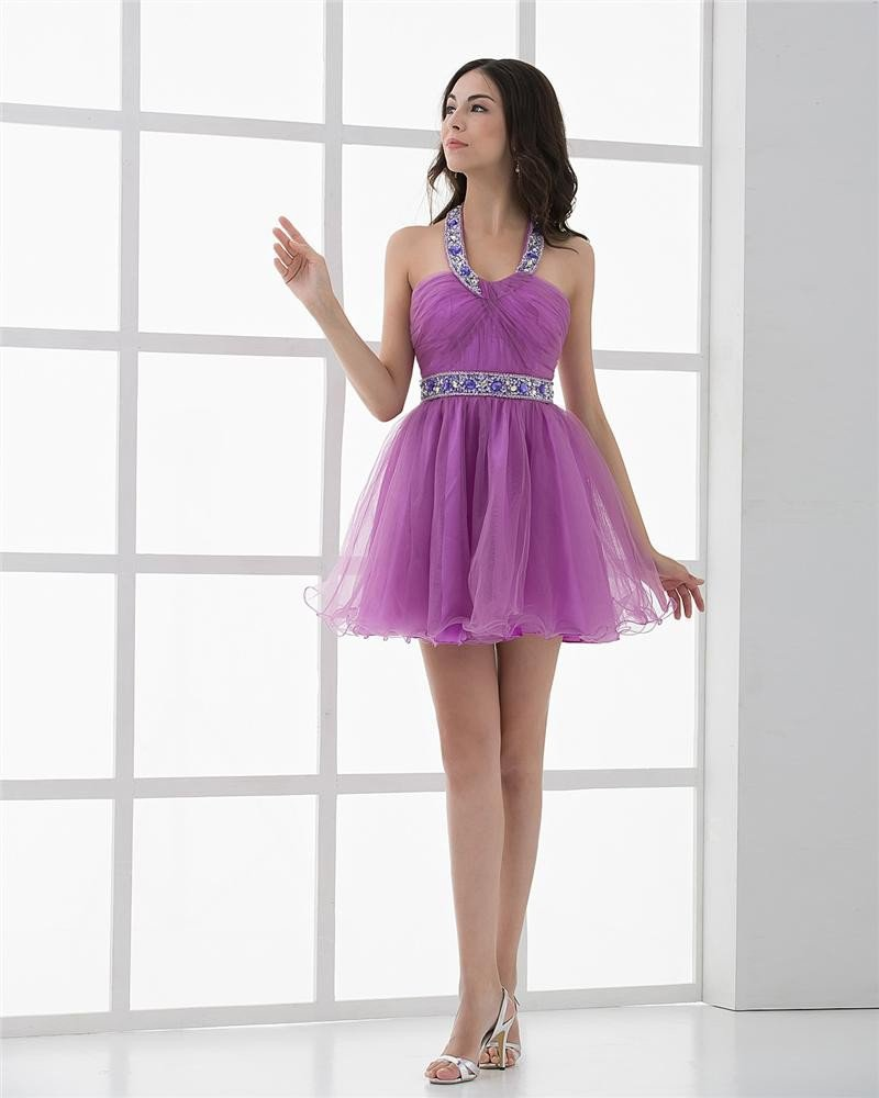 Halter Pleated Beading Mini Length Tulle Woman Homecoming Dresses