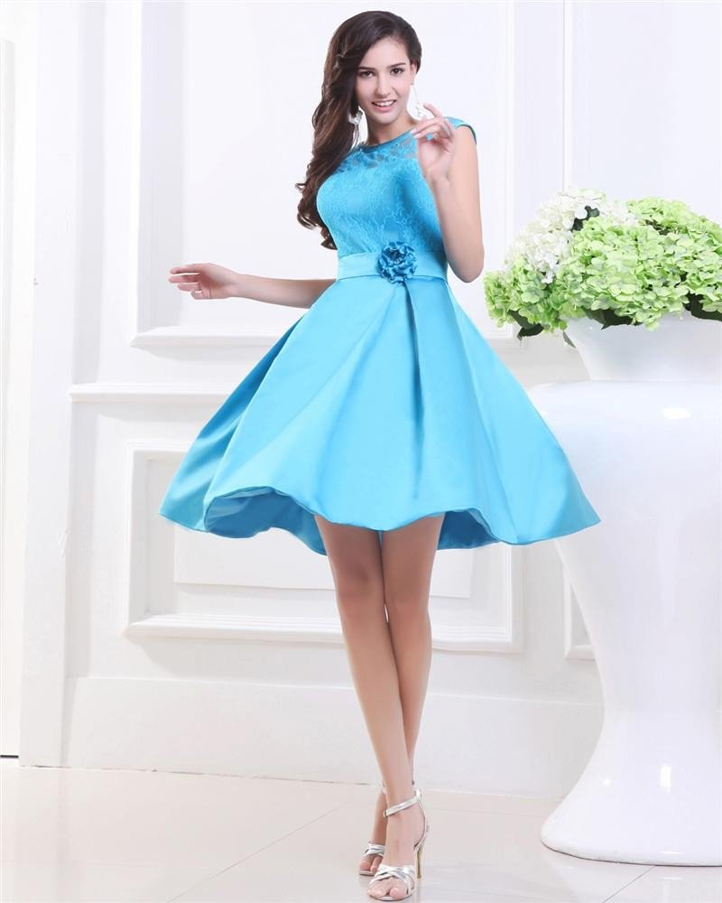 Fashion Lace Satin Flower Jewel Capped Knee Length Graduation Dress