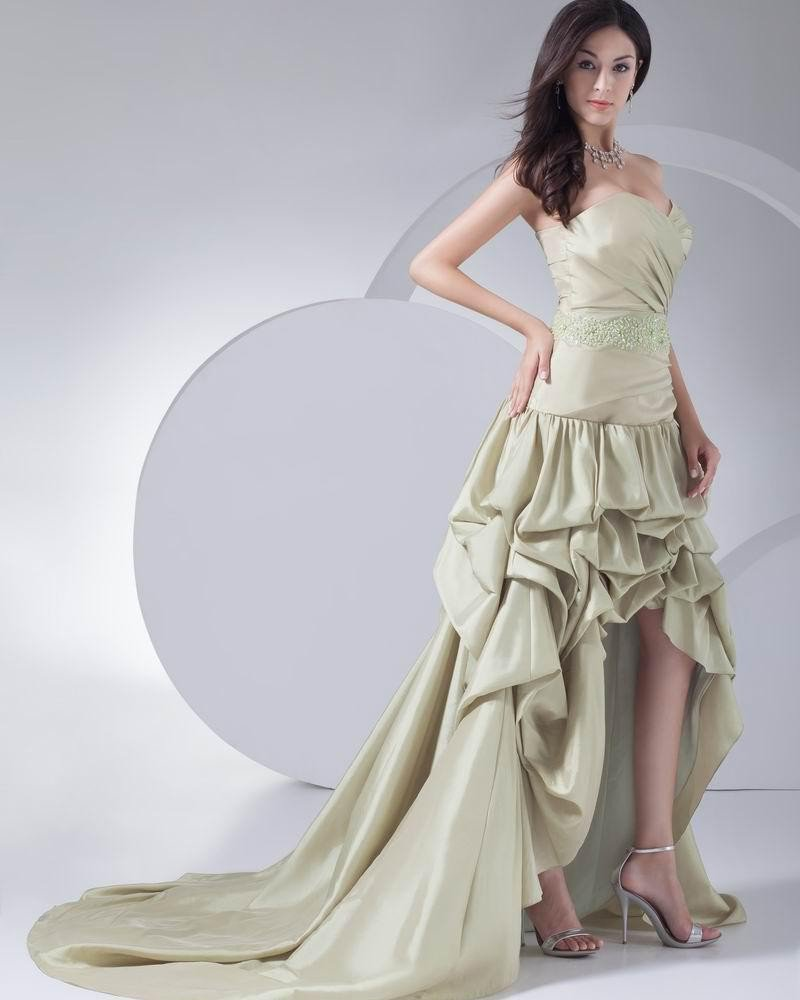 Fashion Silk Pleated Ruffle Sweetheart Asymmetrical Graduation Dress
