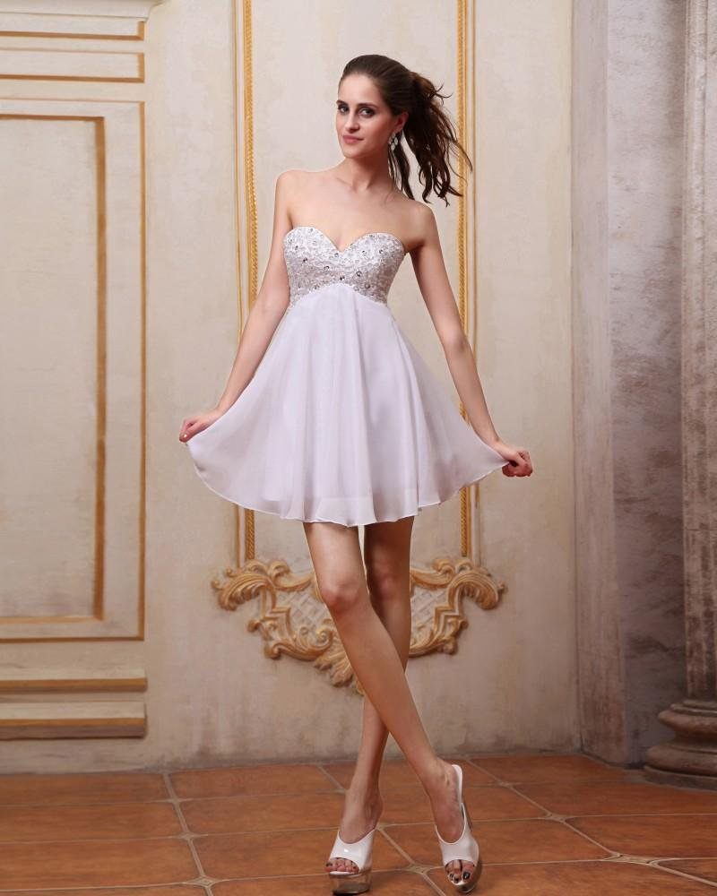 Chiffon Beading Sweetheart Mini Graduation Dresses
