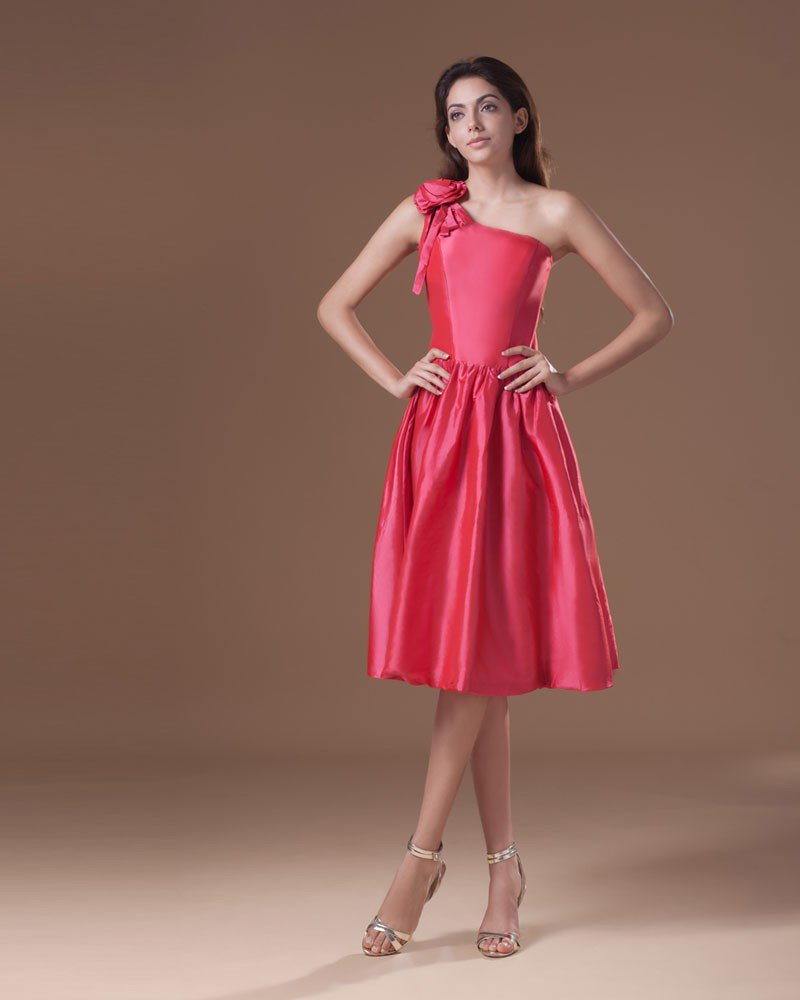 Taffeta Tea Length One Shoulder Flower Pleated Women Graduation Dress