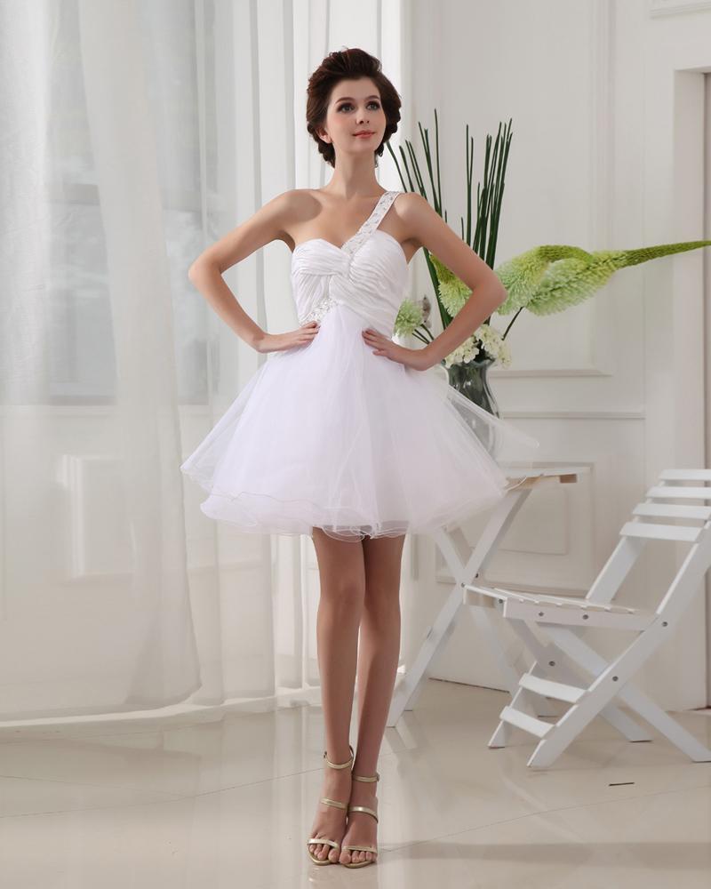 Satin Silk Chiffon Gauze Beading One ShoulderSleeveless Backless Mini Ball Gown Homecoming Dress