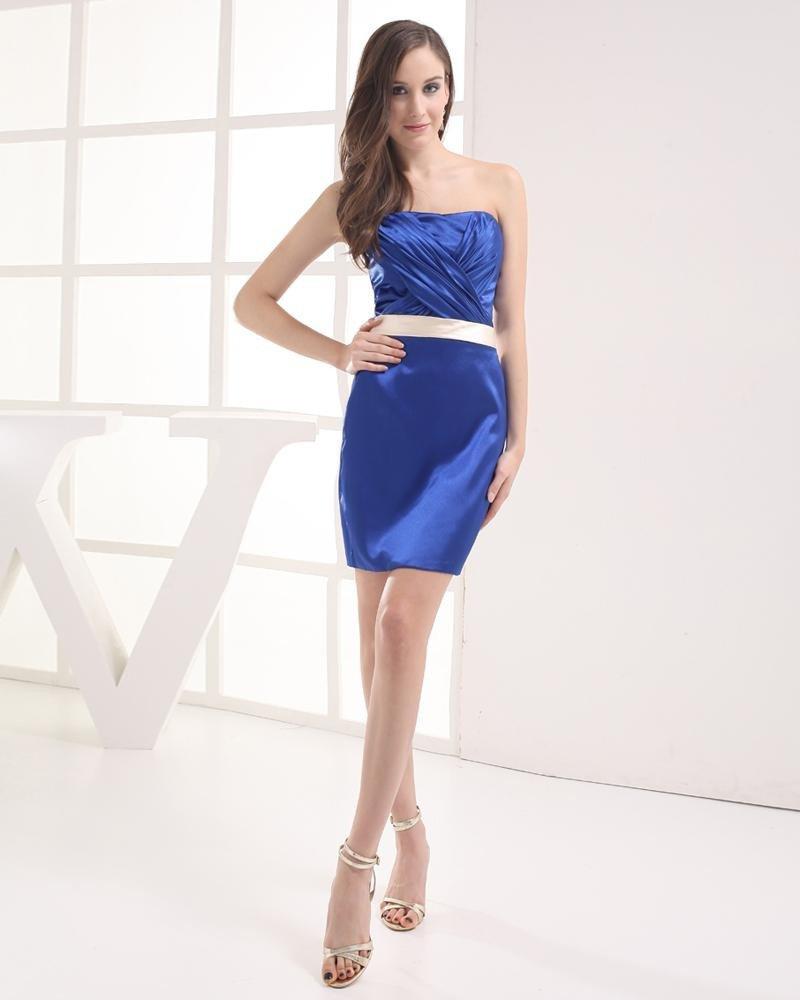 Strapless Pleated Mini Imitation Silk Woman Graduation Dress