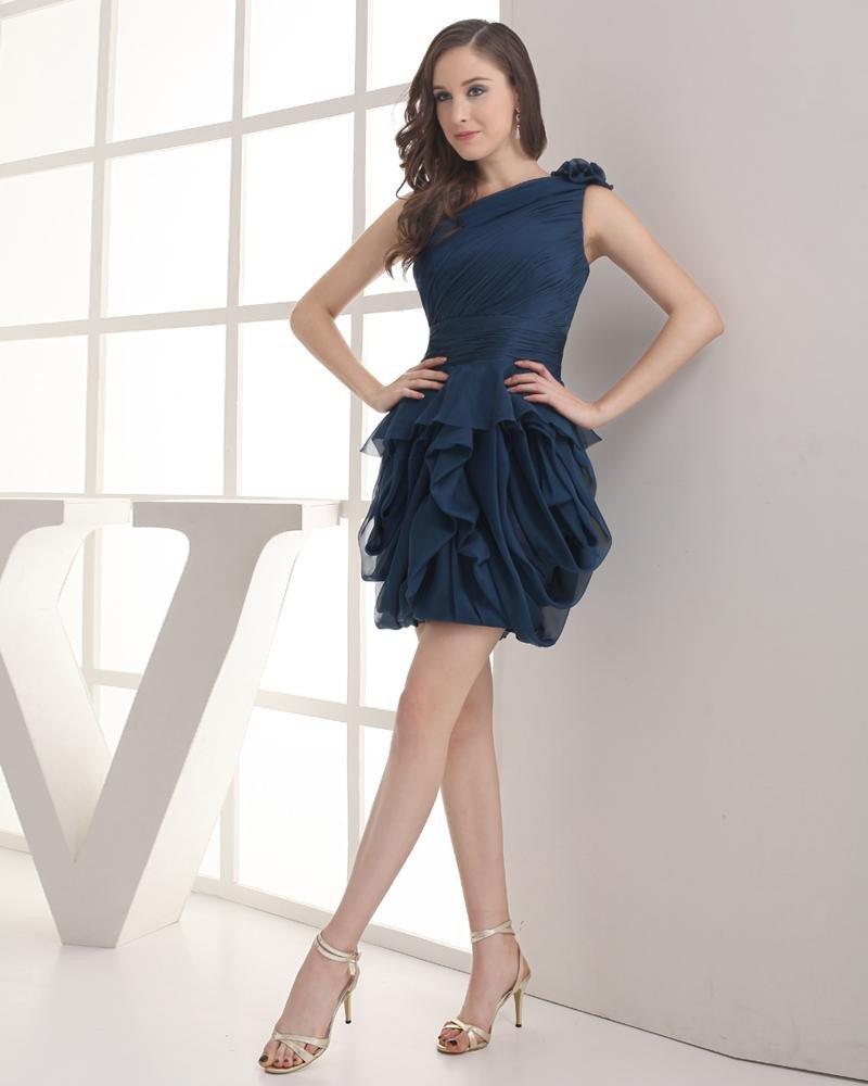 One Shoulder Ruffle Mini Chiffon Imitation Silk Woman Graduation Dress