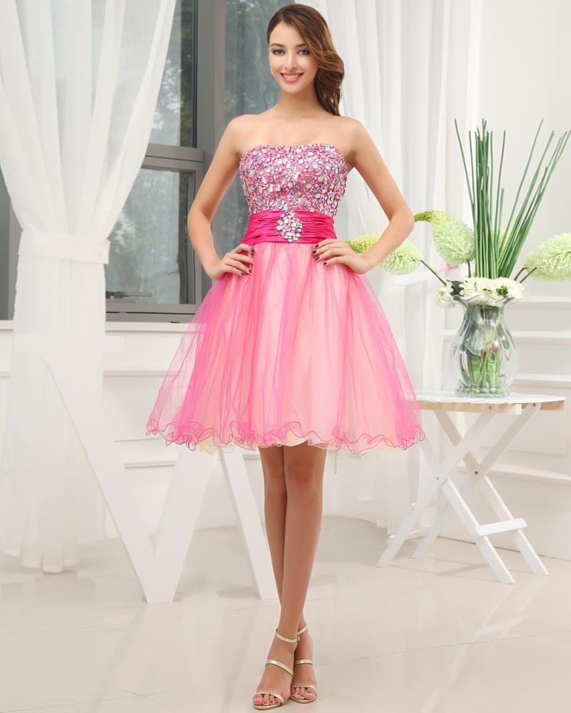 Fashion Silk Like Satin Taffeta Beaded Strapless Sleeveless Thigh Length Graduation Dress