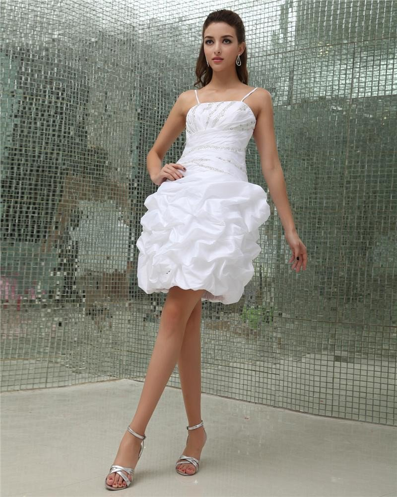 Strapless Ruffle Beading Sleeveless Zipper Mini Length Taffeta Woman Homecoming Dresses