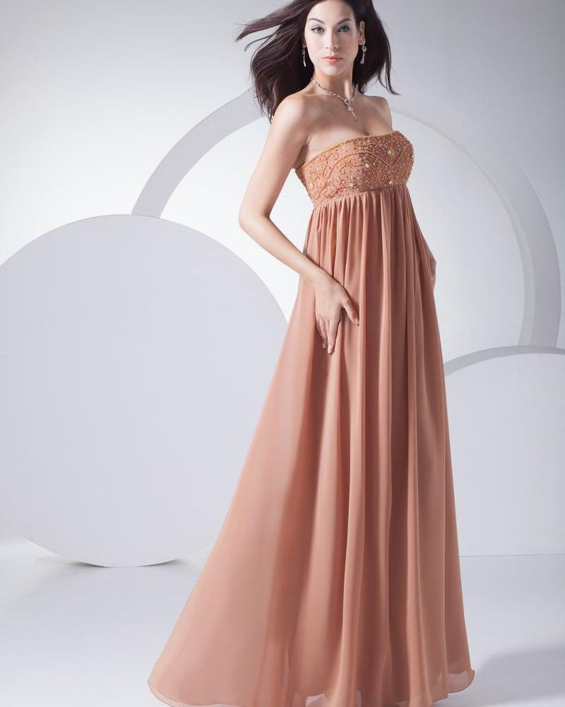 Fashion Chiffon Silk like Satin Ruffle Beading Strapless Floor Length Evening Dress