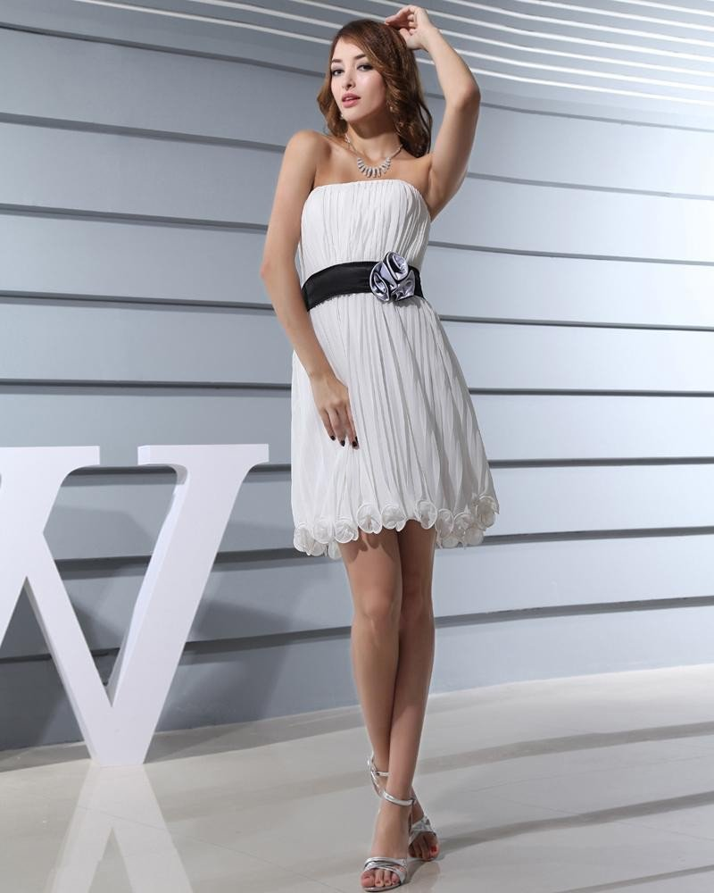 Fashion Chiffon Silk Like Satin Pleated Strapless Sleeveless Thigh Length Graduation Dress