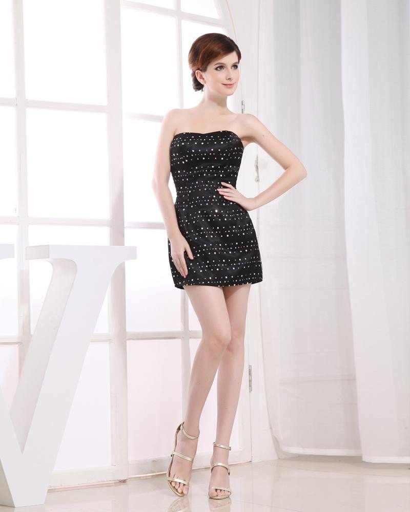 Strapless Lace Up Sleeveless Paillette Mini Length Elastic Silk Like Satin Silk Tulle Woman Graduati