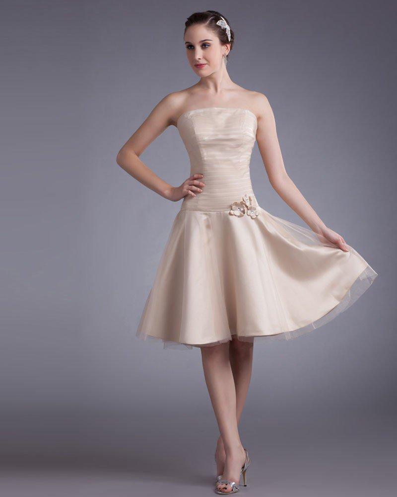 Tulle Knee Length Applique Strapless Beads Pleated Women Graduation Dress
